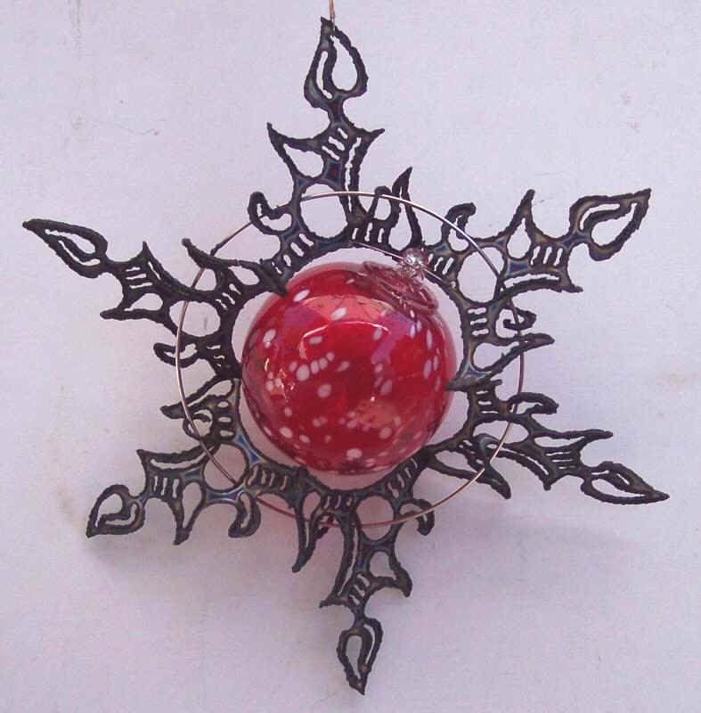 3D stainless steel sun burst with red glass sphere,ornament,ball