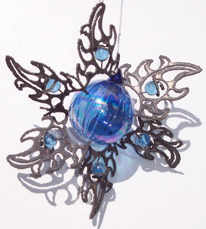 3D stainless steel sun burst with blue glass ornament center & glass marbles