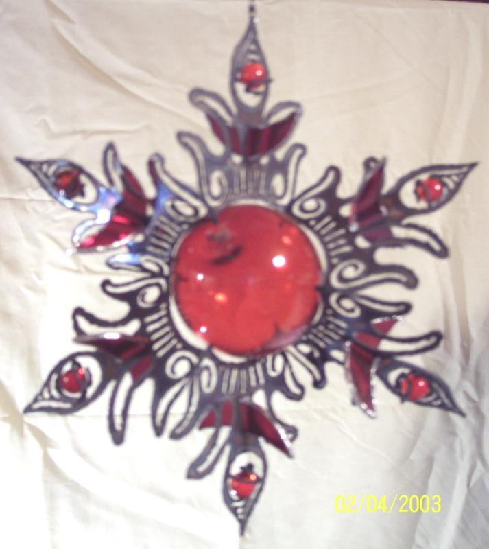Large 3D Sun with stained glass, glass float, & glass marbles