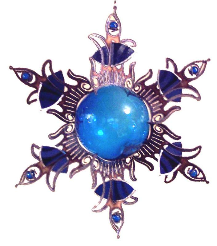 3D sculptured stainless steel sun burst with stained glass,glass ball center,& glass marbles